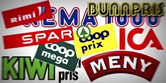 MATBUTIKKER: Vi har sjekket priser hos Rimi, Rema 1000, Bunnpris, Coop Prix, Spar, ICA, Kiwi, Coop Mega og Meny.