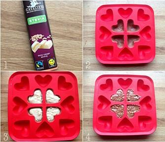 SUKKERFRI SJOKOLADE: Har du en isbit-form, bruker du denne når du lager hjemmelaget, sukkerfri sjokolade. FOTO: Linda Stuhaug
