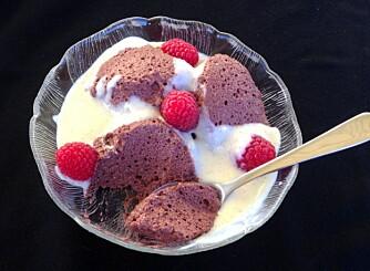 SJOKOLADEMOUSSE: Tenk at noe så godt kan være så sunt! Full av proteiner og helt sukkerfri. FOTO: Linda Stuhaug