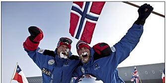KNUSTE FEM LAG: Polfarerne Rune Malterud og Stian Aker kom først til sydpolen.
