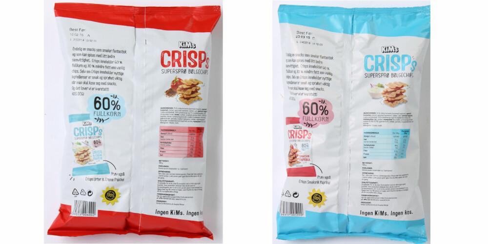 HØYT SALTINNHOLD: Den nye chipsen inneholder mer salt enn vanlig potetgull, til tross fullkorn og mindre fett. KIMs gjør oppmerksom på at det har skjedd en feil i utregningen av næringsinformasjonen som står på første opptrykk av emballasje for Crisps. Det er næringsinformasjonen på KIMs nettsider som er riktig.