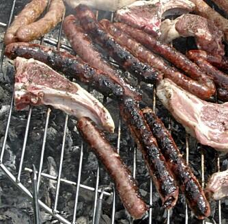 BRENT GRILLMAT: Unngå å la flammene komme i direkte kontakt med maten. Om maten blir svart, bør du ta det svarte av før du spiser.
