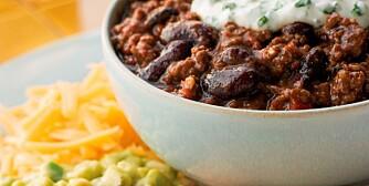 BØNNESTUND: Chili con carne inneholder både kjøtt og bønner.