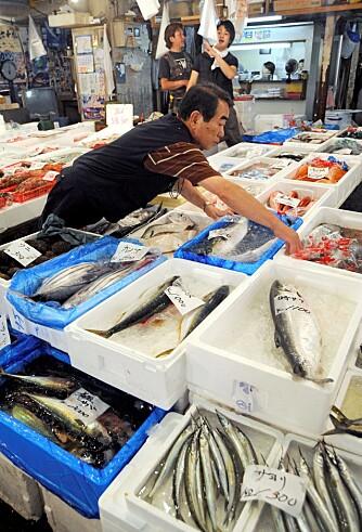 HAVETS DELIKATESSER: Fisk og sjømat er en viktig del av det japanske kostholdet. Sammen med tofu og andre soyabønneprodukter kan det være deler av forklaringen på den høye levealderen på Okinawa.