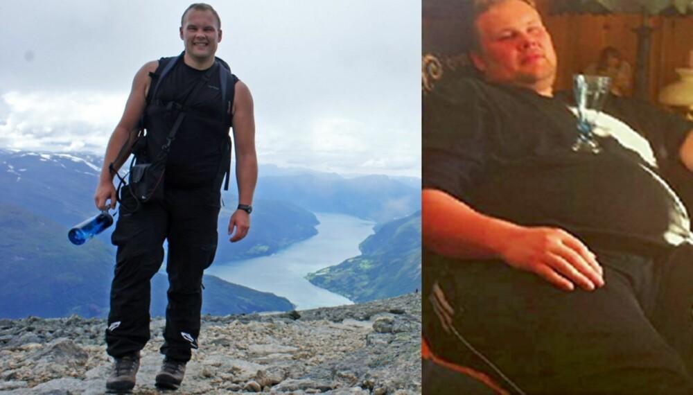 VELTRENT: Til høyre Thomas Muggerud på sitt tyngste. Til venstre er han to år etter, i god form som et resultatet av knallhard trening og kostholdsendring.