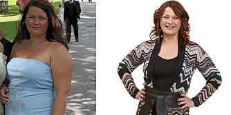 FØR OG ETTER: Mina før og etter hun mistet 35 kilo.