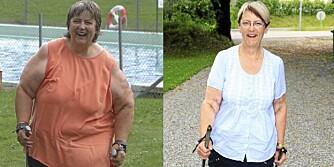 FØR/ETTER: Else Bøhn gikk ned 80 kilo gjennom slankeoperasjon og å la sjokoladen ligge igjen på butikkhylla.