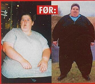 FØR: I 2002 veide Niels (t.h) 297 kilo og Hilde 140 kilo.