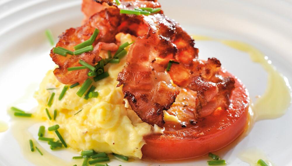 KLASSISK: Eggerøre med bacon er en klassisk frokost som også er lavkarbo-mat.