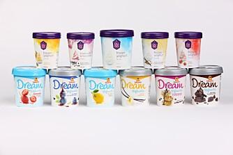TEST AV YOGHURTIS: Vi har tester 11 forskjellige typer yoghurtis, og innholdet av yoghurt varierer. FOTO: Bjørn Inge Karlsen