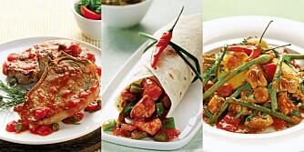 SVINAKTIG GODT: Med det rette tilbehøret kan du lage svinaktig gode middager med svinekoteletter, renskåret svinekjøtt i enchiladas eller stuing med chili og bønner.