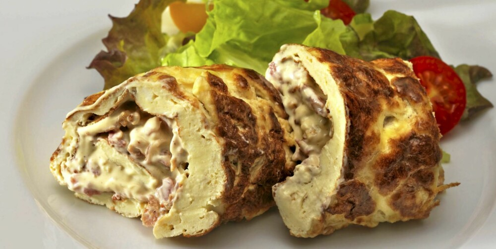 FROKOST: Lavkarbo omelettrull med baconrøre. God både lunken og kald, og passer til et hvilket som helst måltid.