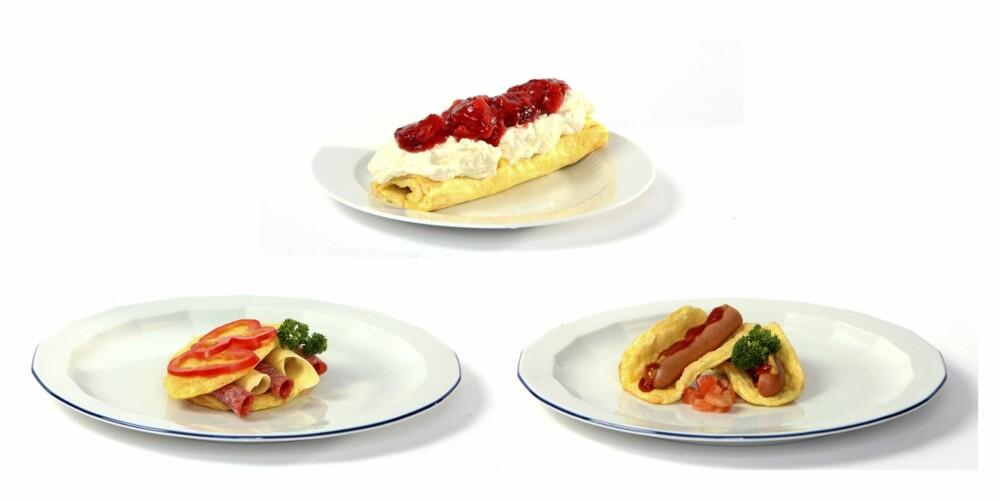 VARIASJON: Rullekaken øverst er en porsjon oopsie-røre pyntet med krem og rørte bær. Oopsies kan også brukes med pålegg, eller som pølsebrød.