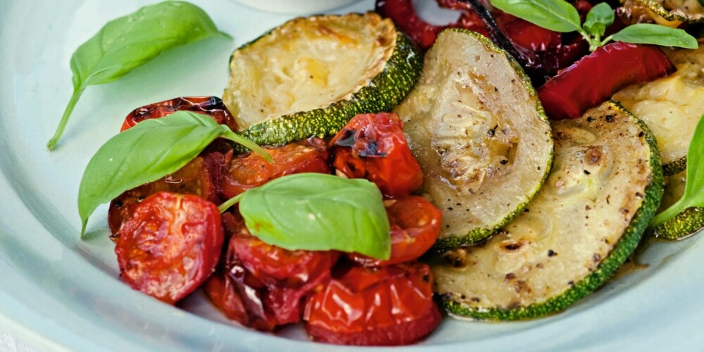 GRØNT: Grillstekte grønnsaker.
