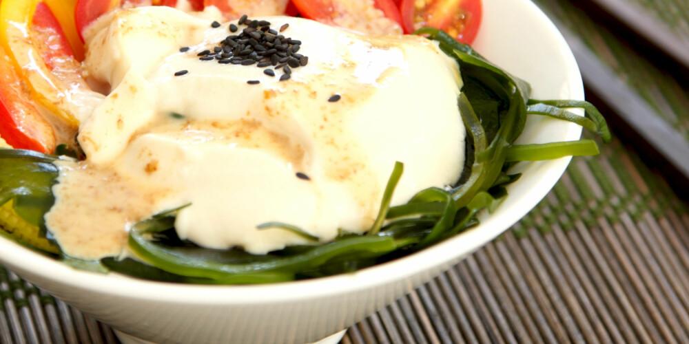 TOFUDRESSING: Tofu er laget av soyabønner og kan fint brukes i dressing. ILLUSTRASJONSFOTO: Colourbox