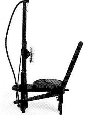 SITTEDUSJ: Ikke den elektriske stol, men en tidlig dusjinnretning. Kroppsvaskingen tok seg opp på 1800-tallet.