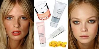 FIN HUD: Modellene vet å ta vare på huden sin med gode produkter.