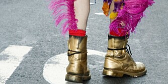Close-up of someone's legs wearing gold boots with purple feathers, rear view