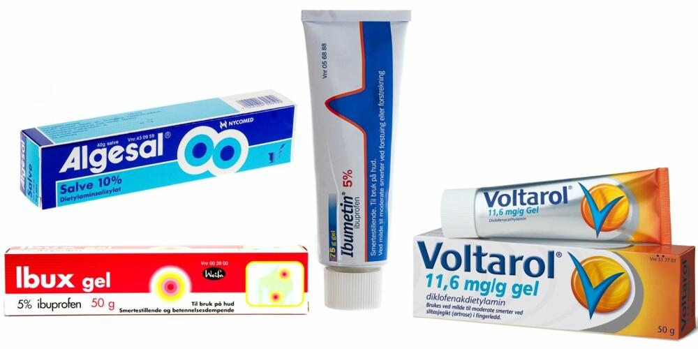 RESEPTFRITT: Legemidler til å smøre på huden: Ibumetin Gel, Ibux gel, Voltarol gel og Algesal salve.