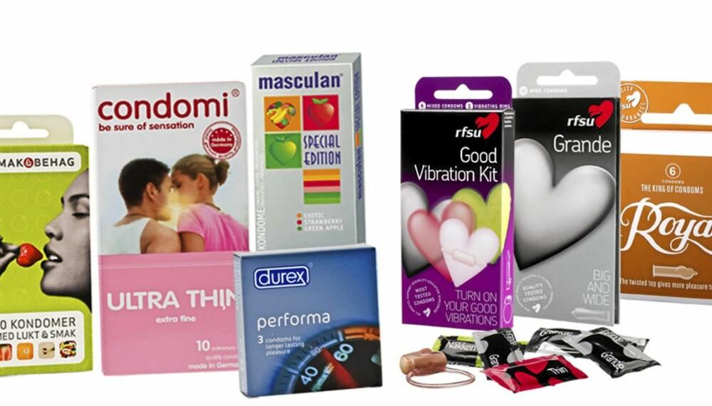 VALGETS KVALER: Med så mange ulike kondomer å velge i  er det ikke alltid så lett å bestemme seg.