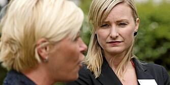 KUNSTEN Å OVERTALE: Være pen, snakke raskt og inn i høyre øre, skal være hemmelighetene for å overtale andre. To som ikke er enige: Siv Jensen (FRP) og Inga Marte Thorkildsen (SV) på klimakonferanse i Sarpsborg.
