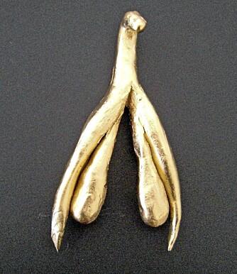 GULLSKULPTUR: - Publikum viser beundring for min gullskulptur av klitoris, sier sexologisk rådgiver, Stine Kühle-Hansen. Figuren på bildet viser hun frem i sine utstillinger.