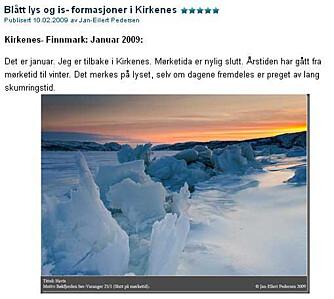 BILDER FRA VILLMARKA: Skjermdump fra bloggen til Jan-Eilert Pedersen.