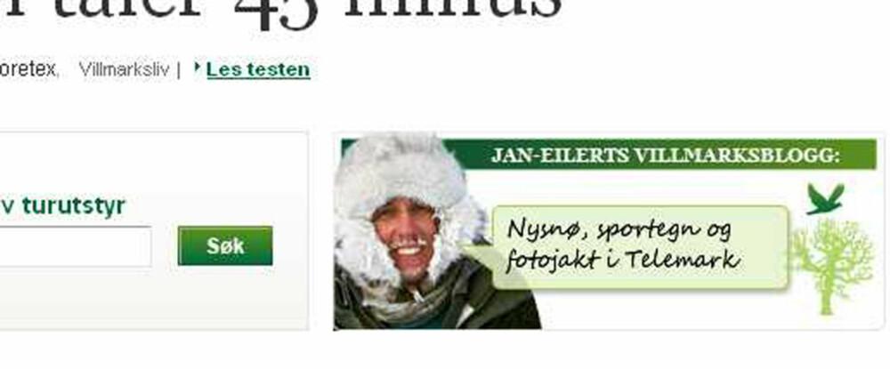 HER FINNER DU BLOGGEN: Høyt oppe på alle sidene under Klikk Friluft finner du en inngang til Pedersens blogg.