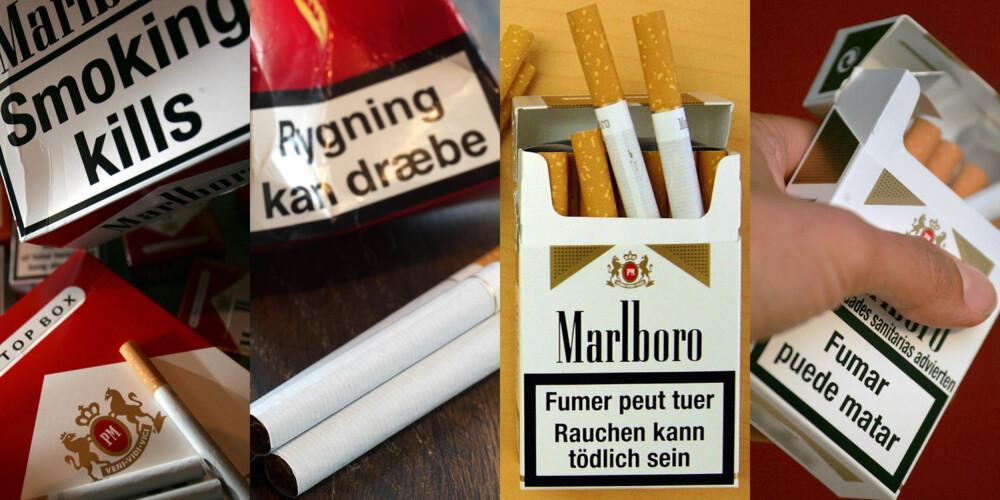 PÅ NORSK, TAKK: Importert tobakk må inneholde en helseadvarsel på mottakerlandets språk. Det er forbudt å innføre tobakksvarer til Norge som ikke er merket med  «Røyking dreper» eller «Røyking er svært skadelig for deg og dine omgivelser».