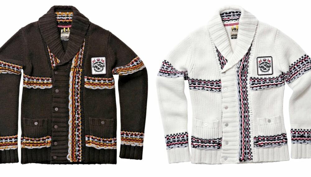FARGEVALG: HH Norse Chunky Knit kommer i brun (t.v.), sort og offwhite (t.h.), med mønster i flere farger.