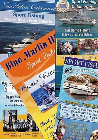 UT PÅ TUR: Puerto Rico på Gran Canaria er big game-hovedstaden på Kanariøyene. I havna finner du 8-10 turbåter som gjerne vil ha deg med på tur. I høysesongen bør du bestille på forhånd.