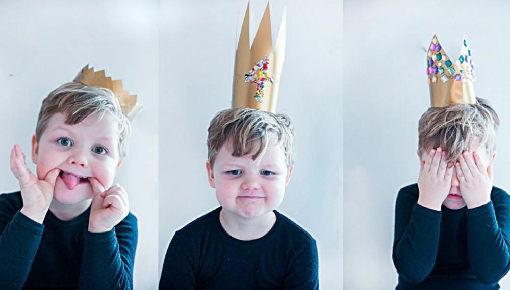 LAGE BURSDAGSKRONE: Barna føler seg ekstra flotte med hjemmelaget krone på hodet. FOTO: Per Olav Sølvberg
