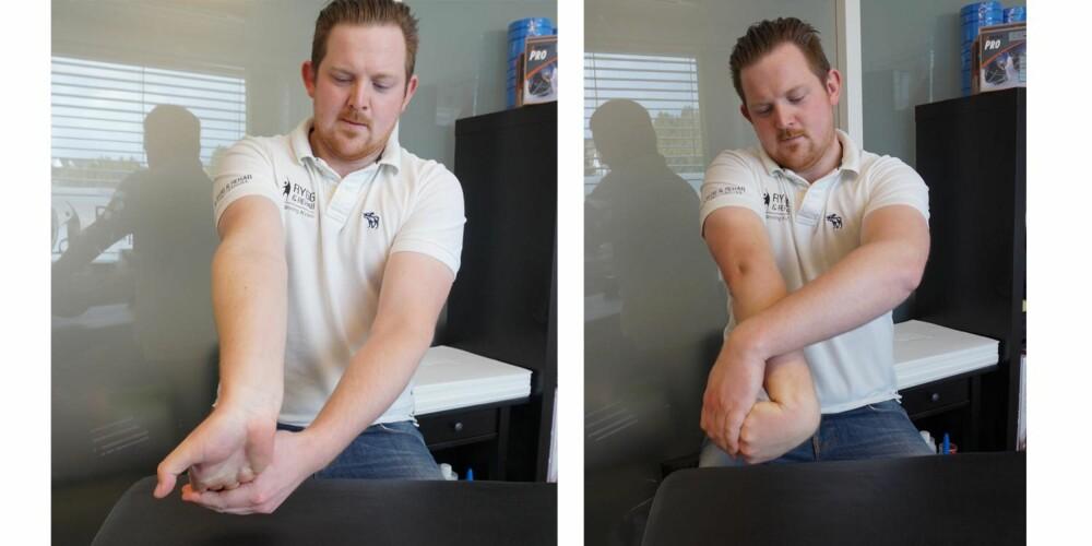 """Til venstre: Muskeltøy av underarmens innside, også kalt fleksorgruppen. Strekk albuen helt ut slik at du har rak arm, ha håndflaten opp i været, bøy fingrene deretter ned mot gulvet og ta tak i fingertuppene med den andre hånden og dra mot deg. Hold i 10 sekunder. Dette strekker på innsiden av underarmen og sørger for at man opprettholder bevegeligheten i alle muskler som griper i hånden. Til høyre: Muskeltøy av underarmens utside, også kalt ekstensorgruppen. Strekk albuen helt ut slik at du har rak arm, gjør en """"tommel ned"""" og strekk ut fingrene, ta tak i fingrene med den andre hånden og dra mot deg. Hold i 10 sekunder. Dette strekker på utsiden av underarmen og sørger for at man opprettholder bevegeligheten i alle muskler som strekker ut fingrene. Denne er veldig god for musearm. FOTO: Jenny Mina Rødahl"""