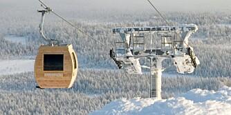 SKILLER SEG UT: Saunagondolen skiller seg ut i alpinanlegget.