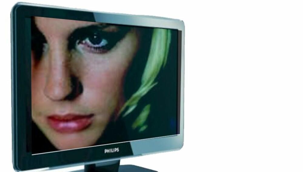 DÅRLIG SIKRET: Denne tv-en fra Philips er så dårlig sikret at den står i fare for å falle fra hverandre.