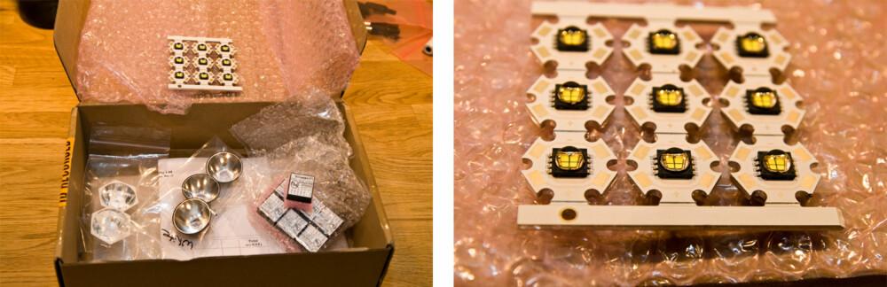 """Cutter bestillingen: Reflektorer, dioder og drivere. Diodene er ferdig montert til et såkalt """"Star board"""". Bildet til høyre viser et helt brett med ni dioder, nok til å lage ni lykter."""