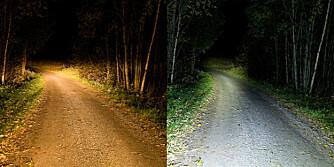 Kraftig lykt: Bil med fjernlys til venstre og hjemmelaget hodelykt til høyre. I artikkelen nedenfor forteller vi deg hvordan du kan bygge lykta.