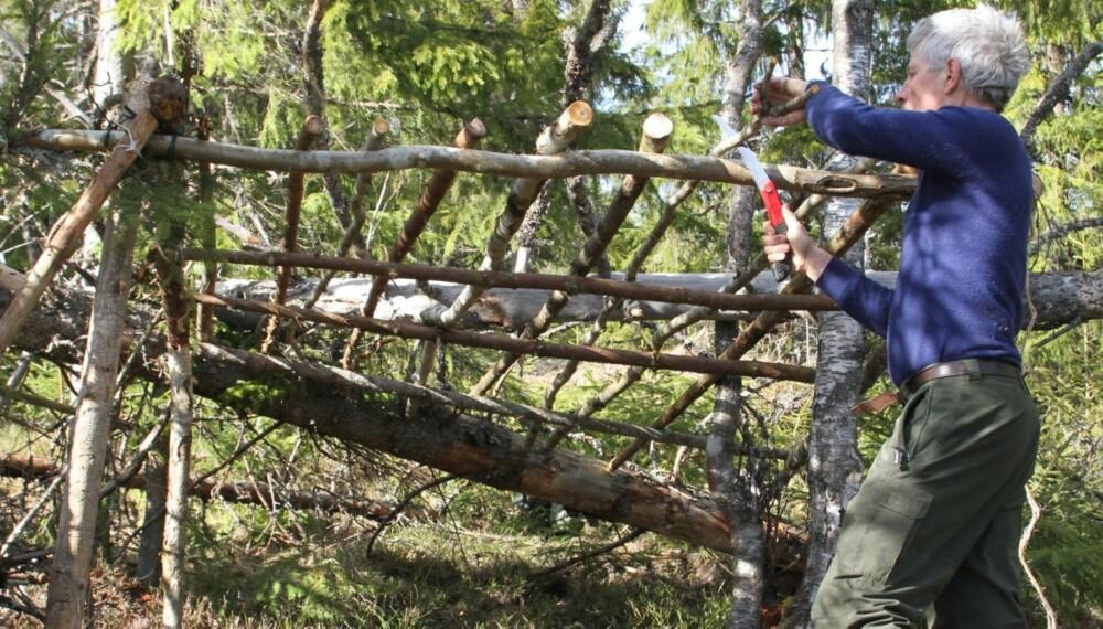 Hvis gapahuken skal ha tak av granbar trengs det et skjelett av raier å legge det på.