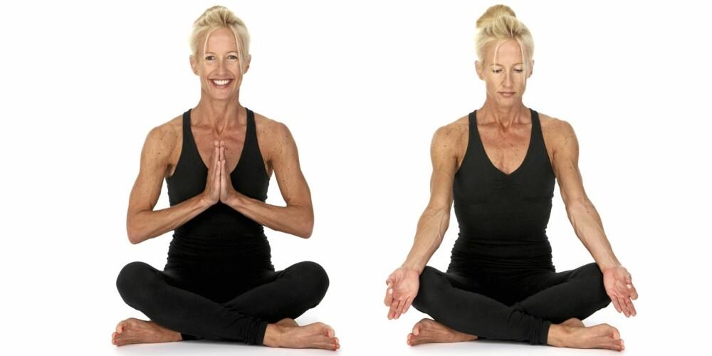 EASY POSE: Du får i gang pusten og forbereder kroppen på øvelsene du skal gjøre.
