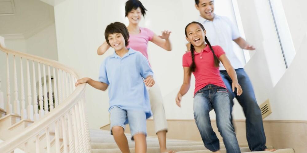 TRAPPETRIM: Trappen gir muligheter for trim for hele familien, men løp forsiktig.
