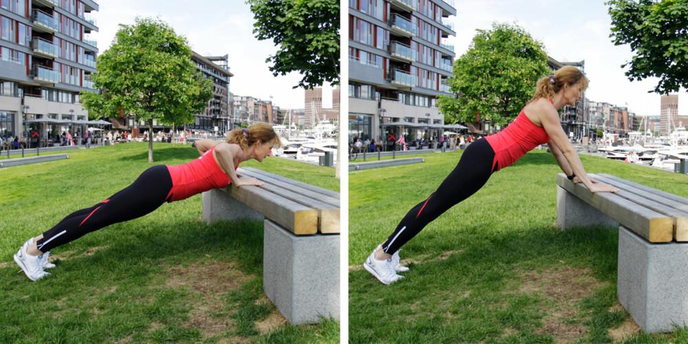 ØVELSE 2: Armhevinger /pushups. Foto: Jenny Mina Rødahl