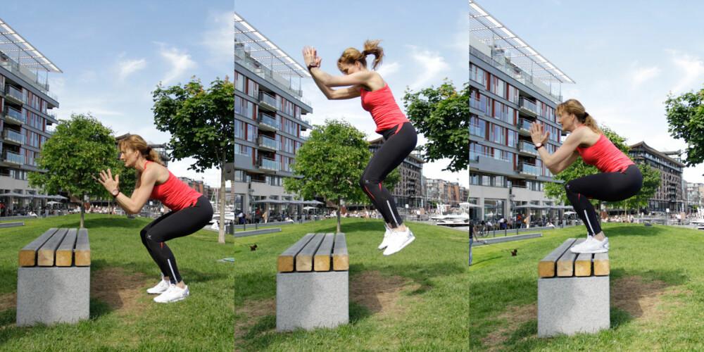 ØVELSE 6: Knebøy med hopp. Foto: Jenny Mina Rødahl