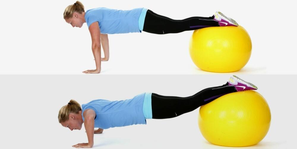 ARMHEVINGER PÅ BALL: Du trener bryst og balanse.