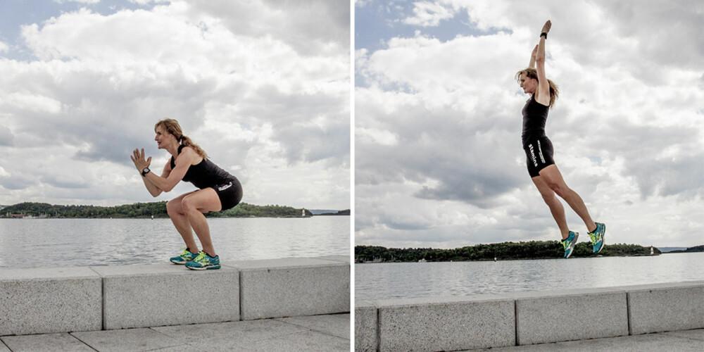 ØVELSE 3: Knebøy med hopp opp. FOTO: Jenny Mina Rødahl