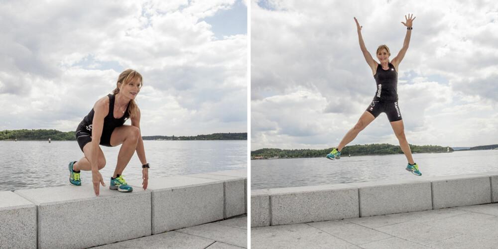 ØVELSE 4: Ettbeins sidehopp (XL skøytehopp). FOTO: Jenny Mina Rødahl