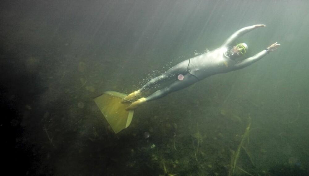DELFINMANNEN: Bjarte Nygaard kan oppholde seg under vann i over fire minutter - og tilbakelegge imponerende strekninger.