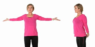 1. Strekk foran med åpne armer (venstre) og 2. Strekk bak (til høyre).
