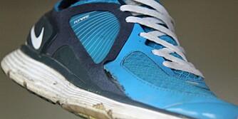 IKKE TIL TRENING: De falske joggeskoene er greie å gå i, men anbefalles ikke til løping.
