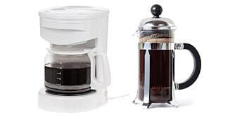 FETT:  Filteret i kaffetrakteren fjerner det kolesterolfarlige fettet fra kaffen, mens presskannekaffen drikkes med kaffefett.
