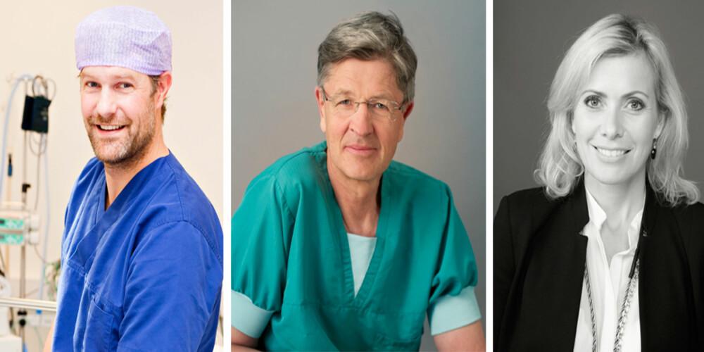 KILDER: Eystein J. Hauge, medisinsk direktør og spesialist i plastikkirurgi ved Teres Medical Group AS, Halfdan Vier Simensen, kirurg ved Aviva Helse AS og Mona Hellund, styreformann i Aviva Helse AS. FOTO: Privat